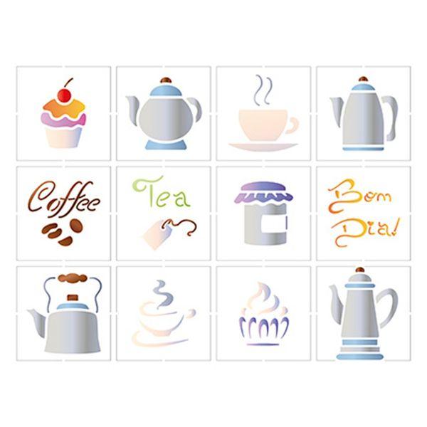 Stencil-Litoarte-25x20-STR-085-Miniaturas-de-Chas-e-Cafes