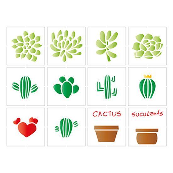 Stencil-Litoarte-25x20-STR-086-Miniaturas-Suculentas-e-Cactus