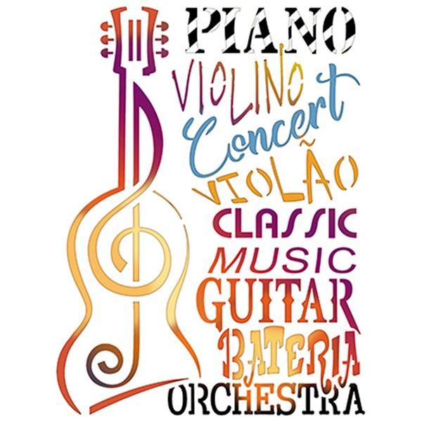 Stencil-Litoarte-25x20-STR-097-Violao-Nota-Musical