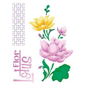 Stencil-Litoarte-25x20-STR-119-Flores-de-Lotus