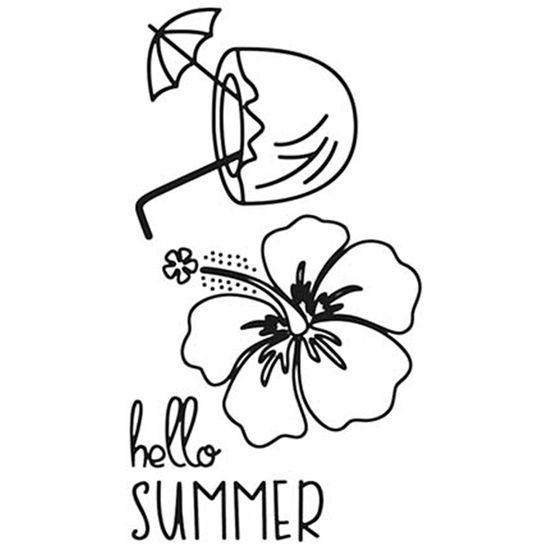 Carimbo-de-Borracha-Litoarte-CLP-126-Tropical-Hello-Summer