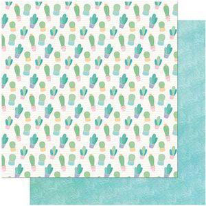 Papel-Scrapbook-Litoarte-305x305-SD-994-Cactos-e-Folhagem-Fundo-Verde