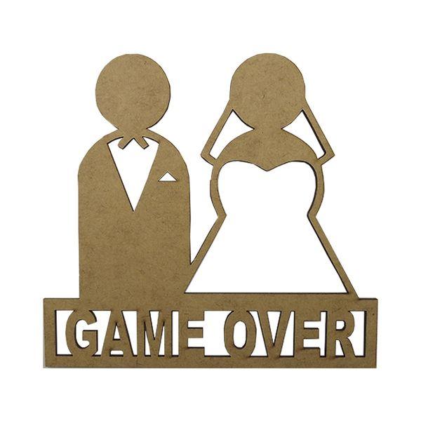 Aplique-em-MDF-Noivos-Game-Over-14x15cm---Palacio-da-Arte