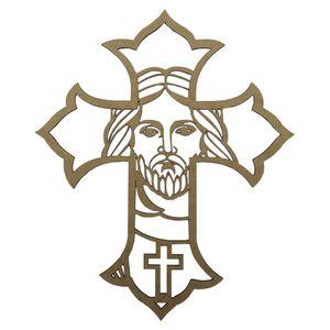 Aplique-em-MDF-Crucifixo-Detalhe-30x25cm---Palacio-da-Arte