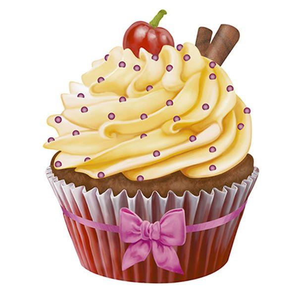 Aplique-Decoupage-Litoarte-APM8-1179-em-Papel-e-MDF-8cm-Cupcake-Amarelo