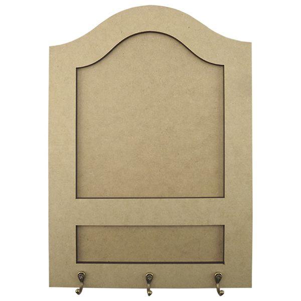 Porta-Chaves-e-Recados-em-MDF-35x245-3-Ganchos-Liso---Palacio-da-Arte