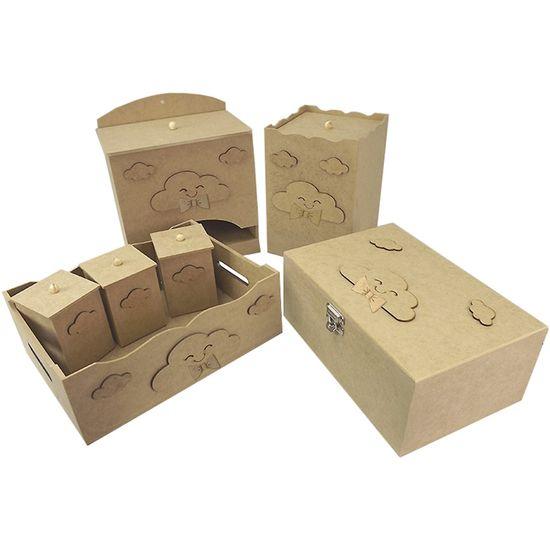 Kit-Higiene-Bebe-em-MDF-Nuvens-com-Laco-7-pecas-com-Farmacinha---Palacio-da-Arte