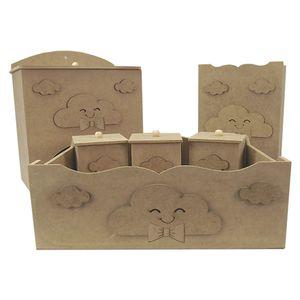 Kit-Higiene-Bebe-em-MDF-Nuvens-com-Laco-6-pecas---Palacio-da-Arte