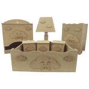 Kit-Higiene-Bebe-em-MDF-Nuvens-com-Laco-7-pecas-com-Abajur---Palacio-da-Arte