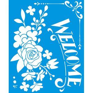 Stencil-Litoarte-25x20-STR-144-Welcome-e-Flores