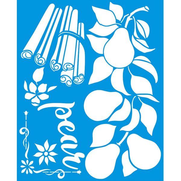 Stencil-Litoarte-25x20-STR-145-Pear-Peras-e-Canelas