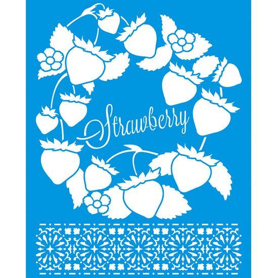Stencil-Litoarte-25x20-STR-146-Strawberry-Morango