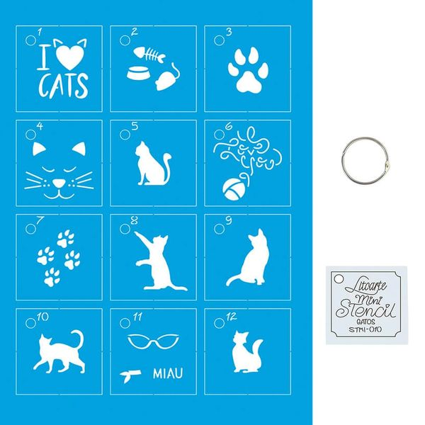 Kit-Stencil-Mini-Litoarte-com-14-pecas-45cm-STMI-010-Gatos