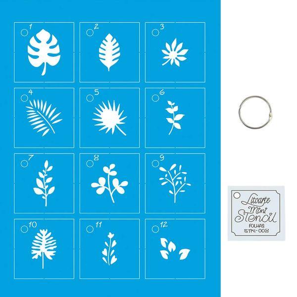 Kit-Stencil-Mini-Litoarte-com-14-pecas-45cm-STMI-008-Folhagem