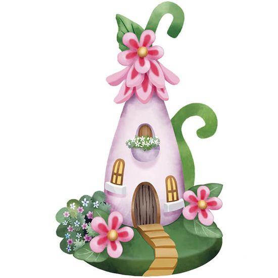 Aplique-Decoupage-Litoarte-APM8-1247-em-Papel-e-MDF-8cm-Casa-Rosa