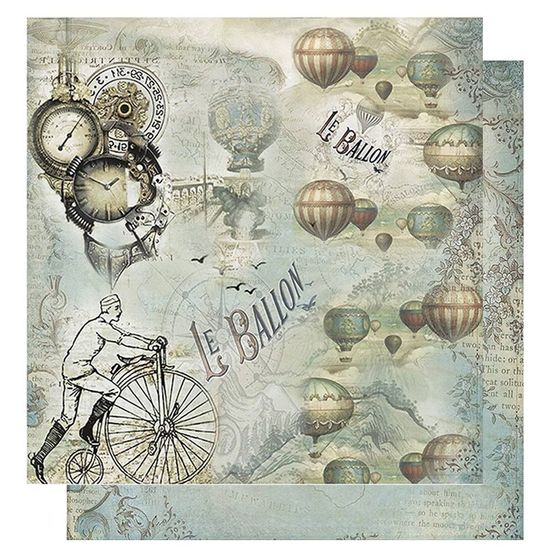 Papel-Scrapbook-Litoarte-305x305-SD-1072-Relogio-Bicicleta-e-Baloes