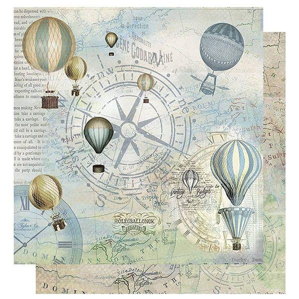 Papel-Scrapbook-Litoarte-305x305-SD-1073-Rosa-dos-Ventos-Baloes-e-Relogios