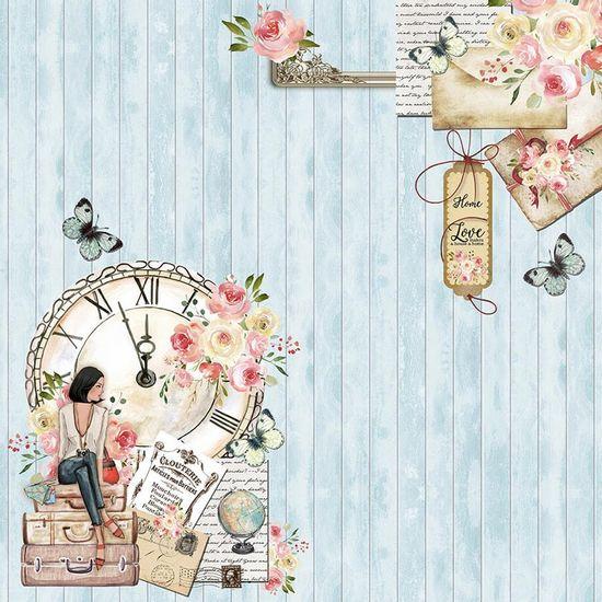Papel-Scrapbook-Litoarte-305x305-SD-1088-Mulher-Relogio-e-Flores