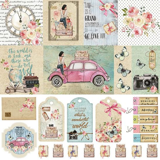 Papel-Scrapbook-Litoarte-305x305-SD-1089-Mulher-e-Fusca