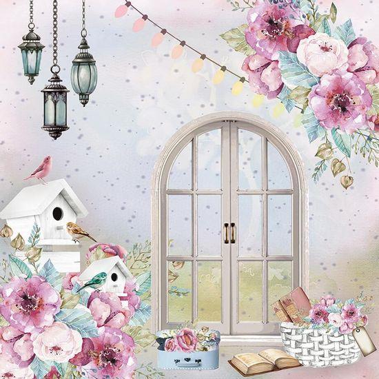Papel-Scrapbook-Litoarte-305x305-SD-1098-Janela-Flores