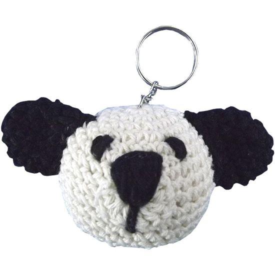 Chaveiro-de-Croche-Urso-8x5cm-Cru-e-Preto---Palacio-da-Arte