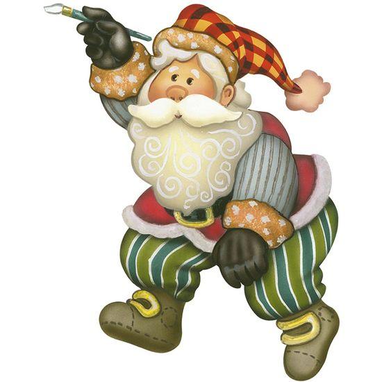 Aplique-Decoupage-Natal-Litoarte-APMN12-011-em-Papel-e-MDF-12cm-Papai-Noel