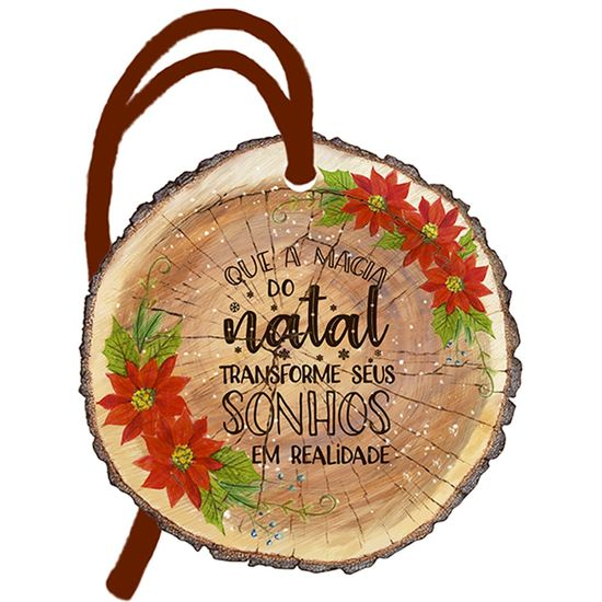 Placa-TAG-MDF-Decorativa-Natal-Litoarte-DHT8N-001-8x8cm-Tronco-Frase