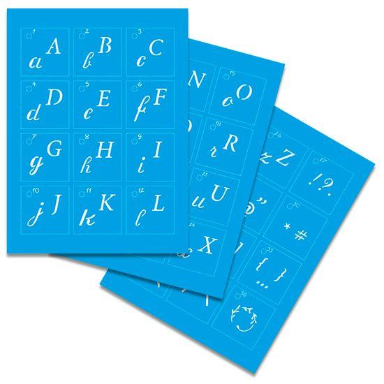 Kit-Stencil-Mini-Litoarte-com-38-pecas-STMI2-002-Alfabeto-Cursiva