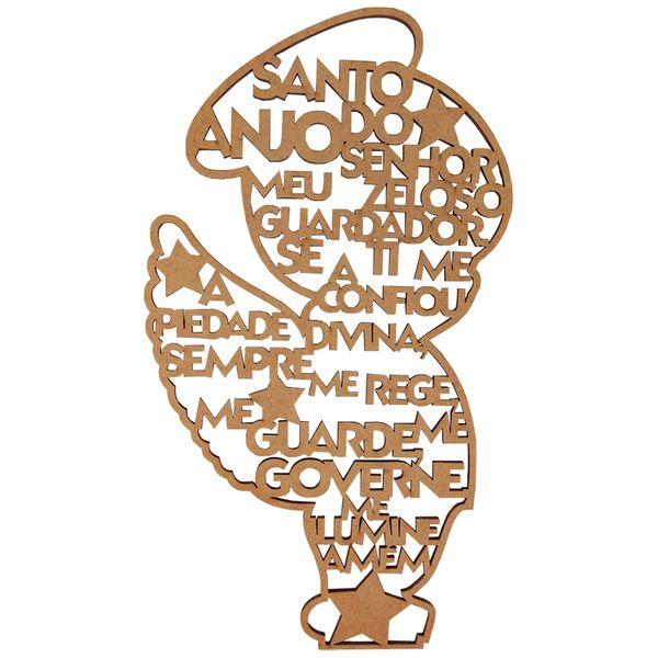 Aplique-em-MDF-Anjo-em-Pe-Oracao-Santo-Anjo-30x162cm---Palacio-da-Arte