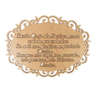 Moldura-em-MDF-Oval-Arabesco-Oracao-Santo-Anjo-do-Senhor-30x215cm---Palacio-da-Arte