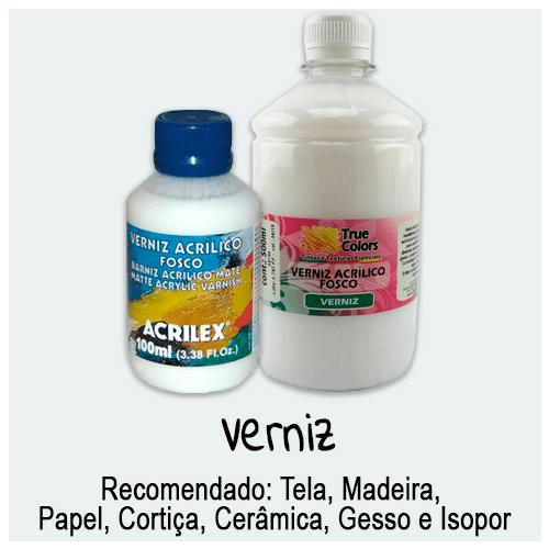 Verniz - Grande variedade de vernizes para seu artesanato. Ideal para dar proteção, beleza e resistência em diversos tipos de materiais.