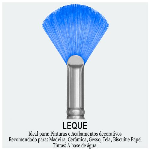 Pincel Leque - Encontre aqui pincéis com formatos diferenciados para sua Arte. Ferramenta em formato de leque indicado para esbatimentos, vegetações, árvores e arbustos.