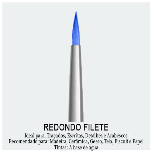 Pincel Redondo Filete - Encontre aqui os melhores pincéis e acessórios de Pintura. Pincel Artístico indicado para traçados, escritas, detalhes e arabescos.
