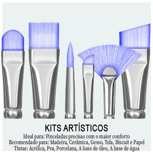 Kits Artísticos - Encontre aqui Kit de pintura para Tela, Tecido, Madeira e Unha. kits com vários modelos e tamanhos de pincéis para facilitar os projetos artesanais.
