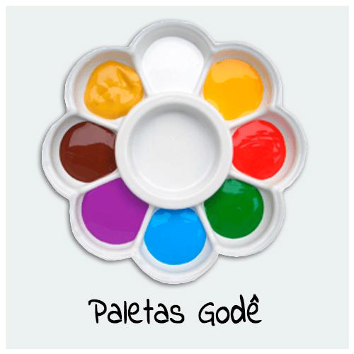 Paletas Godê - Encontre diversos formatos de Paleta para sua Arte. As Paletas Godê servem para auxiliar na pintura, para acomodar várias cores de tintas e auxiliares.