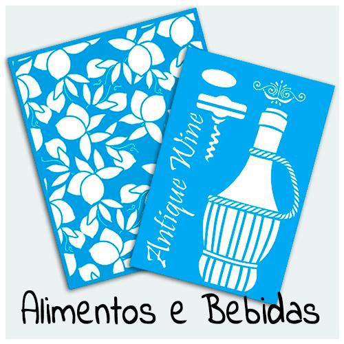 Stencil Alimentos e Bebidas - Aqui você encontra diversos Stencils, com estampas de lanches, frutas, temperos, refrigerantes, sucos, vinhos, drinks, cupcakes e etc.