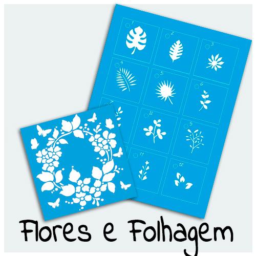 Stencil Flores e Folhagens - Confira aqui as mais belas estampas florais para sua Arte. As flores deixam qualquer projeto mais lindo e com toque especial.