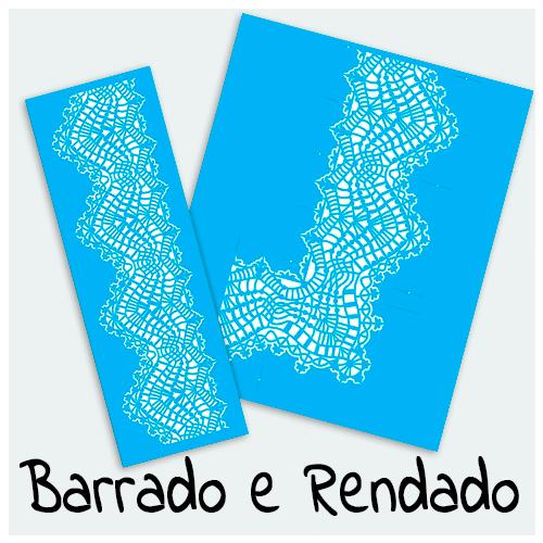 Stencil Barrado e Rendado - Encontre o Stencil perfeito para decoração de diversos objetos, tecidos, paredes e outros. São lindas estampas e maravilhosas rendas.