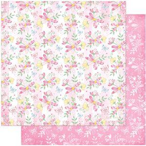 Papel-Scrapbook-Litoarte-305x305-SD-1036-Flores-e-Borboleta