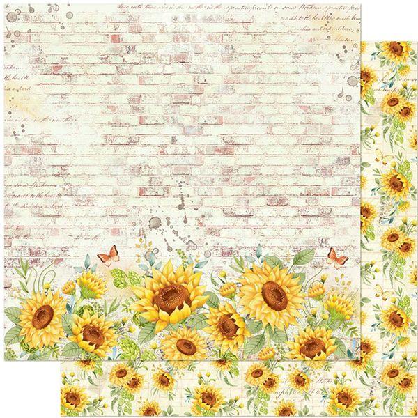 Papel-Scrapbook-Litoarte-305x305-SD-1129-Girassol-Fundo-Parede-Tijolo