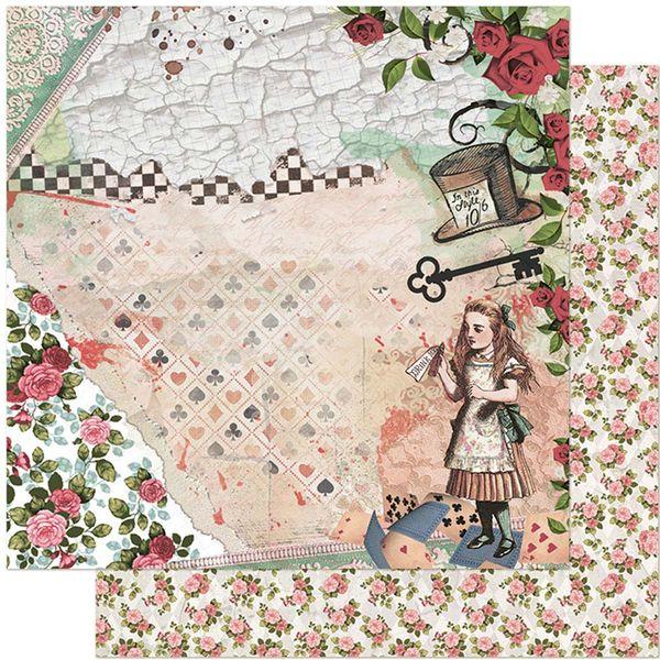 Papel-Scrapbook-Litoarte-305x305-SD-1132-Alice-Chave-e-Rosas