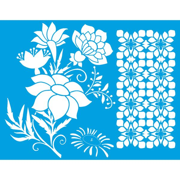 Stencil-Litoarte-25x20-STR-151-Barrado-Flores