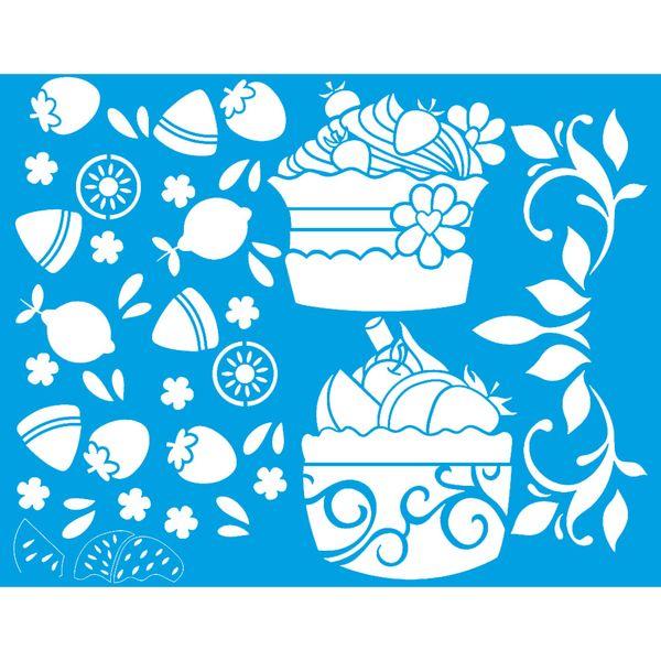 Stencil-Litoarte-25x20-STR-152-Frutas-e-Cupcake
