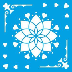 Stencil-Litoarte-14x14-STA-132-Mandala-Cantoneira