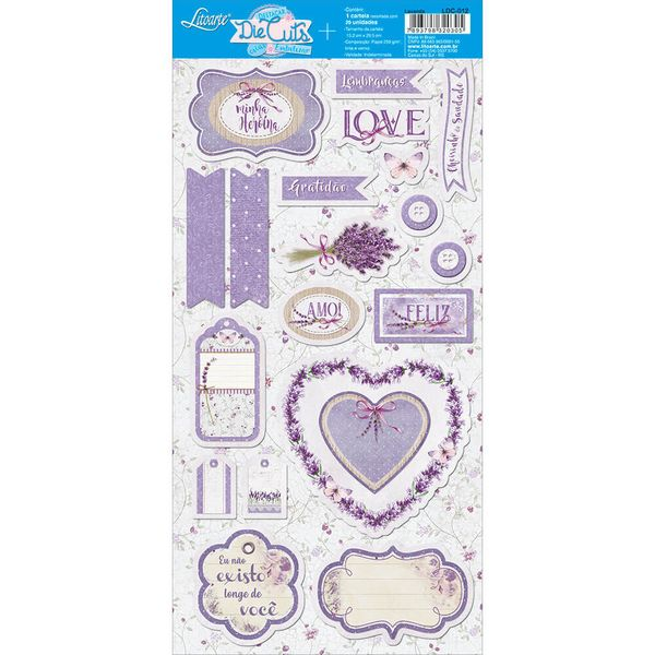 Apliques-de-Papel-Recortado-Litoarte-LDC-012-Die-Cuts-Scrapbook-Lavanda-Love-Tags
