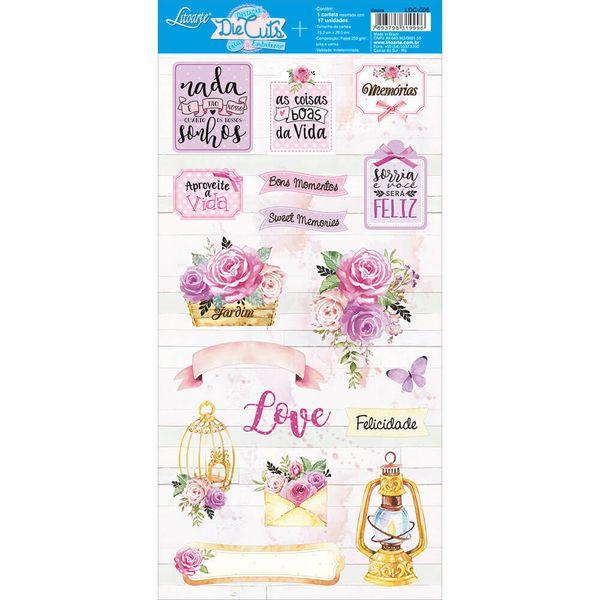 Apliques-de-Papel-Recortado-Litoarte-LDC-008-Die-Cuts-Scrapbook-Flores-Rosa-e-Tags