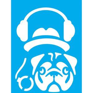 Stencil-Litocart-20x15-LSM-176-Cachorro-com-Fone-de-Ouvido
