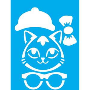 Stencil-Litocart-20x15-LSM-177-Gato-com-Oculos-e-Laco