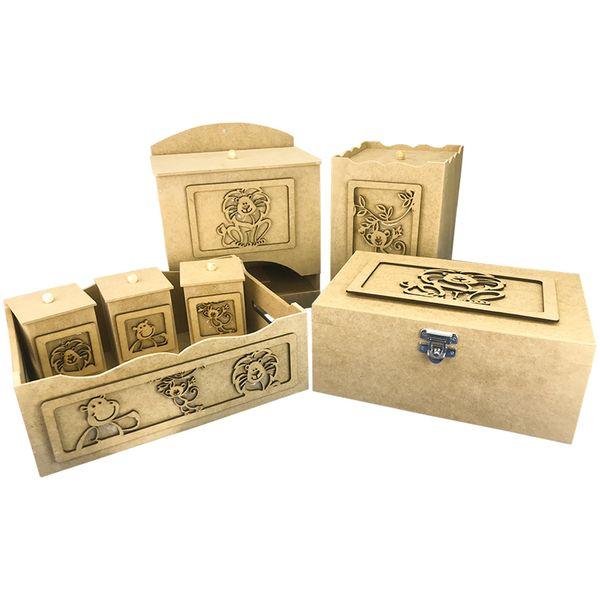 Kit-Higiene-Bebe-em-MDF-Safari-Bacana-7-pecas-com-Farmacinha---Palacio-da-Arte