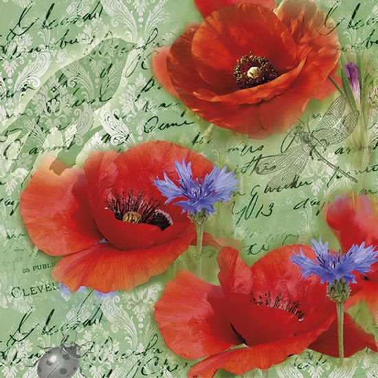 Guardanapo-Decoupage-Ambiente-Luxury-PAINTED-POPPIES-GREEN-13314210-2-unidades-Papoulas